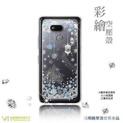 【WT 威騰國際】WT ® HTC Desire 12s 施華洛世奇水晶 彩繪空壓殼 軟殼 -【映雪】