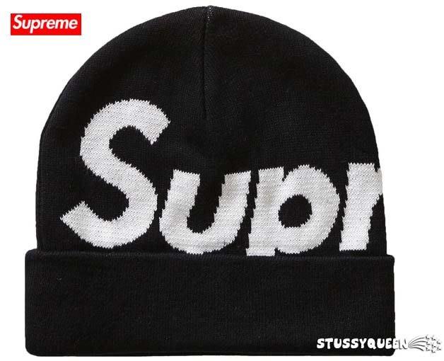 【超搶手】全新正品 2019 限量 Supreme Big Logo Beanie 大Logo 反摺毛帽 黑色