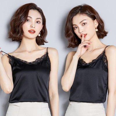 春夏蕾絲性感黑色絲綢緞面吊帶背心 女短款內搭修身打底衫外穿上衣