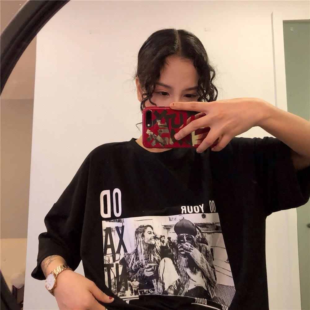 夏季女裝短袖T恤 款春裝韓版女裝學生黑色圓領寬松BF風印花短袖T恤上衣打底衫