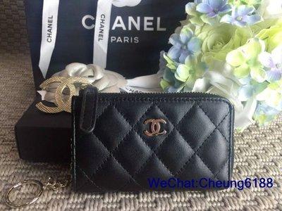 名品匯 CHANEL A68943 黑色 羊皮 金CC L型 零錢包 名片包
