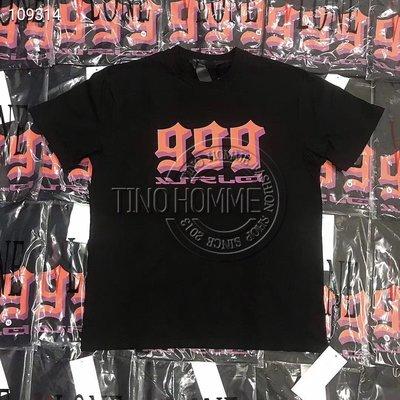 《TINO HOMME》2019春夏新款VLONE 999數字大V LOGO印花短袖情侶款ins短袖T恤
