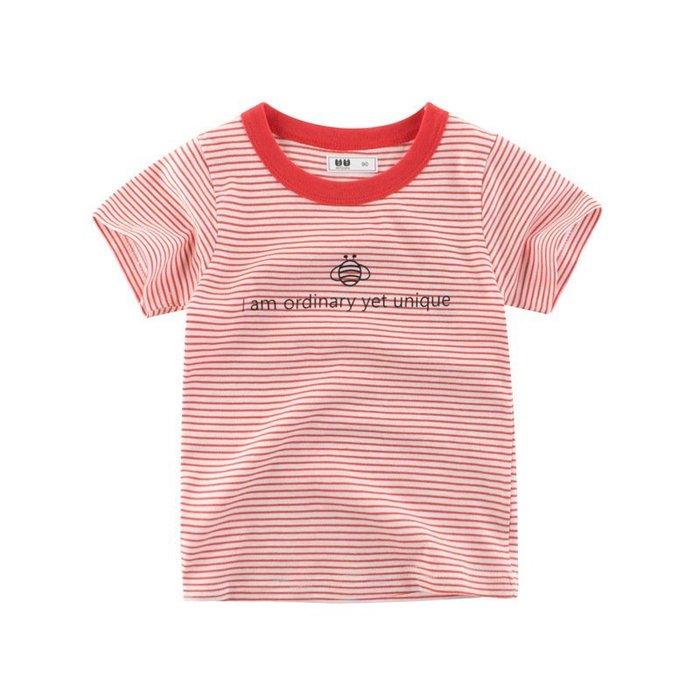 韓版    童裝 夏季新品年  兒童  短袖 T恤 條紋圓領上衣 小孩子的衣服