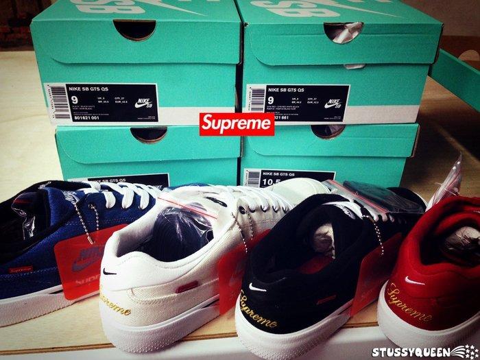 【現貨】全新正品 2015 聯名鞋款 Supreme x Nike SB GTS 丹寧 帆布 黑白紅藍黃 8~13