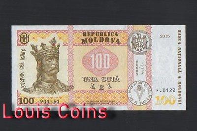 【Louis Coins】B470-MOLDOVA-2015摩爾多瓦紙幣,100 Lei