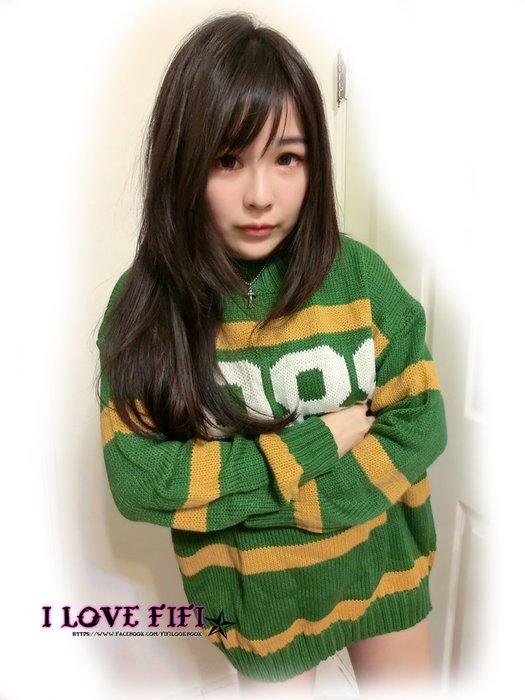 ❤FIFI❤韓妞美式大學感數字慵懶軟綿綿版型棒針織長板毛衣 綠