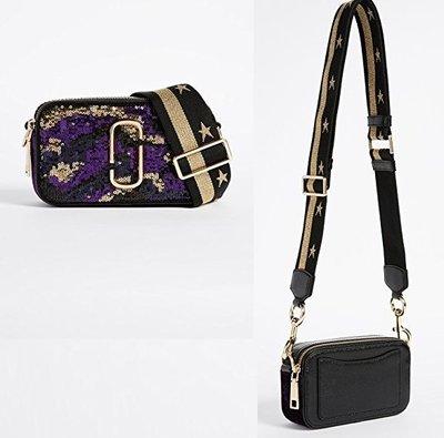 ◎美國代買◎Marc Jacobs snapshot 紫醉金迷米彩風亮片星星揹帶斜肩背相機包