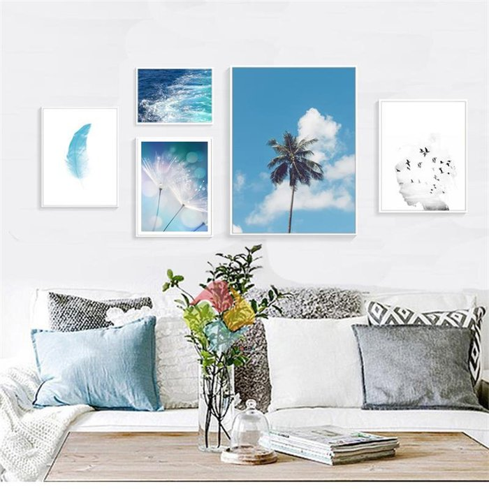 ins北歐現代藍色海水羽毛蒲公英裝飾畫芯畫布高清微噴組合掛畫(不含框)