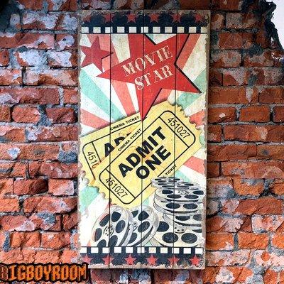 【BIgBoyRoom】工業風家具 美式設計款ADMIT ONE舊化招牌電影票電影院戲院電影膠卷導演復古攝影道具酒吧餐廳