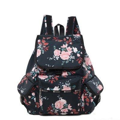 ♥ 小花日韓雜貨 ♥ --lesportsac 7839 逛街購物後背包出遊踏青包黑色玫瑰花款
