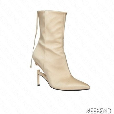 【WEEKEND】 UNRAVEL 皮革 拉鍊 斷根設計 懸空效果 高跟 踝靴 短靴 裸色 19春夏