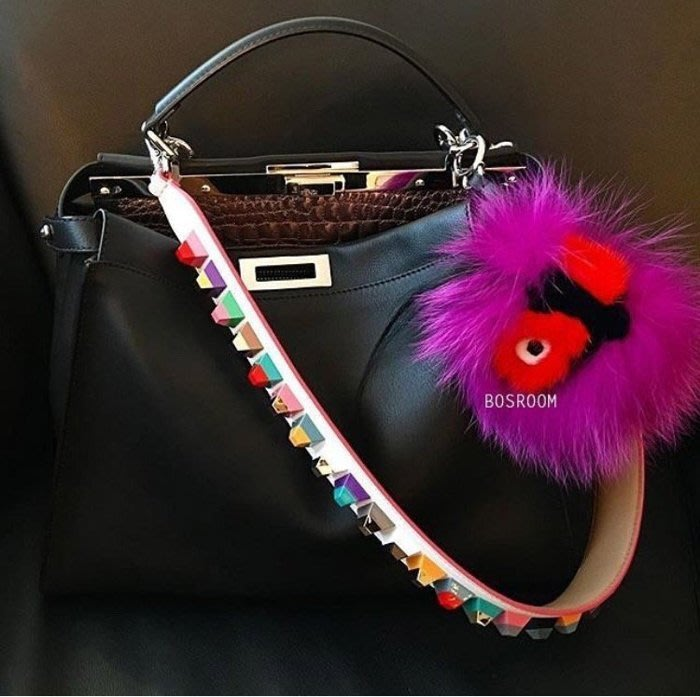 Fendi Fur Monster Charm White/Red 貂毛球吊飾 紫橘