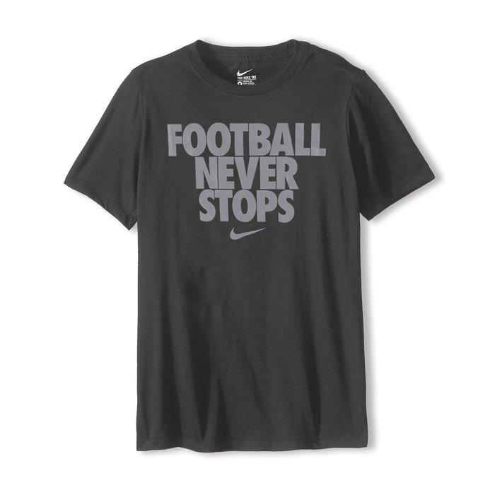 美國百分百【全新真品】Nike T恤 耐吉 短袖 上衣 T-shirt 運動休閒 logo 足球 深灰 S號 G781