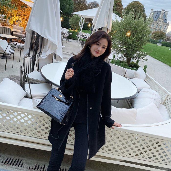 ❤JM SHOP韓風❤全羊毛黑色鑲邊系腰帶雙面呢外套