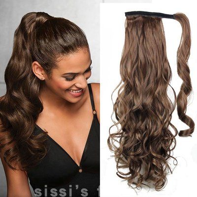 cosplay專賣~Body wave HairClip wig Curly Ponytail Extensions隱形卷髮馬尾
