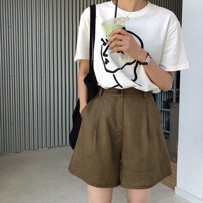苧麻闊腿短褲女夏2018新款寬松顯瘦高腰 休閑直筒褲子