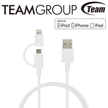 【新魅力3C】全新 MFi認證 TEAM WC02 apple iPhone Lightning 二合一雙介面 傳輸線
