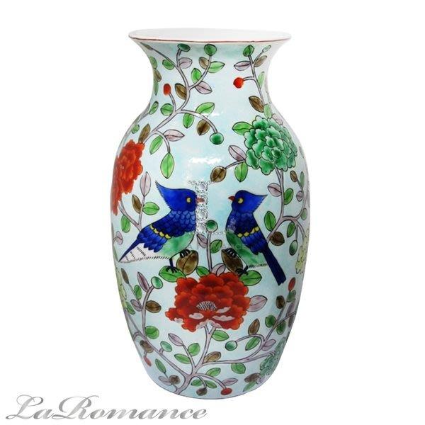 【芮洛蔓 La Romance】 東情西韻系列手繪綠底鸚鵡花器 / 花瓶 / 園藝用具