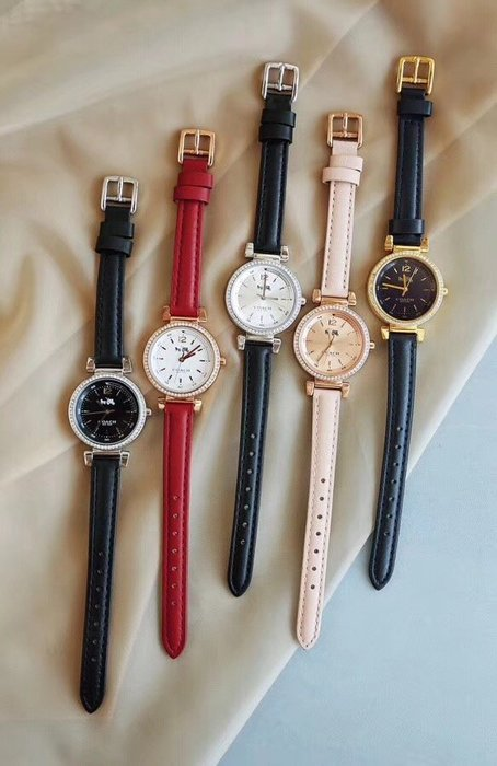 NaNa代購 COACH 手錶 【帶鑽】【不帶鑽】兩種款式 牛皮錶帶 氣質百搭 附購證 禮品盒