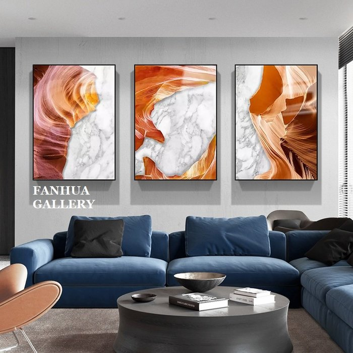 C - R - A - Z - Y - T - O - W - N 橘色時尚抽象色彩藝術裝飾畫大理石客廳沙發背景三聯掛畫