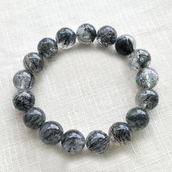 ☆采鑫天然寶石☆ *強大能量* 嚴選黑髮晶/黑鈦晶圓珠手鍊~11.2mm