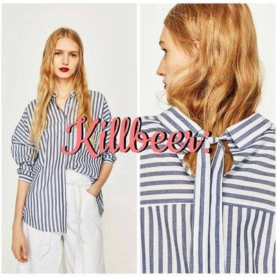 KillBeer:像男人一樣前後不一之 歐美復古藍白直條紋後被蝴蝶結綁帶boyish襯衫上衣zara topshop