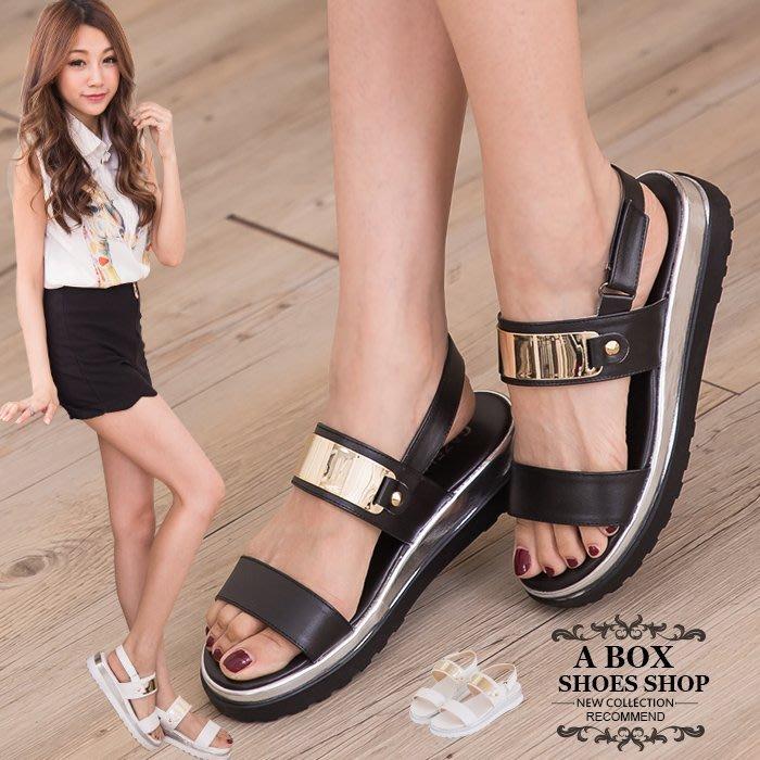 格子舖*【KP612】零碼36 39 MIT台灣製 嚴選韓版流行 時尚金屬寬帶厚底楔型增高涼鞋 2色