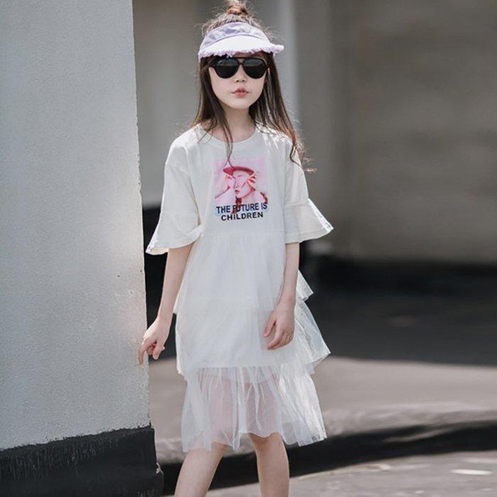 •*~ 辣媽咪衣飾小舖 ~*•❤童裝系列❤K870183韓版大童夏款休閒洋氣網紗拼接小女孩公主裙洋裝