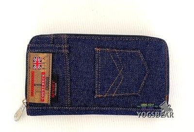 【YOGSBEAR】J 男女適用 錢包 卡包 手拿包 帆布皮夾 錢夾 皮包 二折長夾 護照包 拉鍊包 長夾 藍