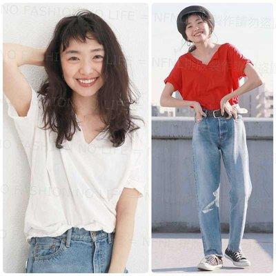 ☆NFNL☆ 回饋特價 UNGRID 2018春夏新色入荷 舒適好搭 開襟V領 寬鬆純棉短袖T恤 MOUSSY ZARA
