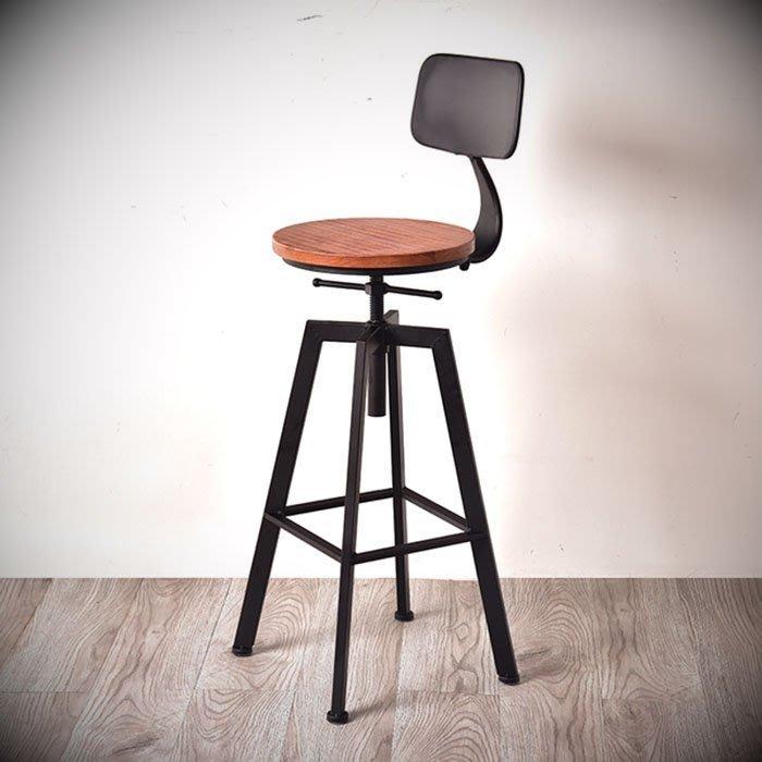 【松鐵工藝家居】鐵藝歐式高凳子吧檯椅家用升降椅簡約現代高腳凳帶靠背酒吧椅實木 餐廳咖啡廳品東西