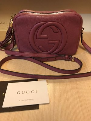 真品 Gucci soho 流蘇 相機包 紫色 斜背包