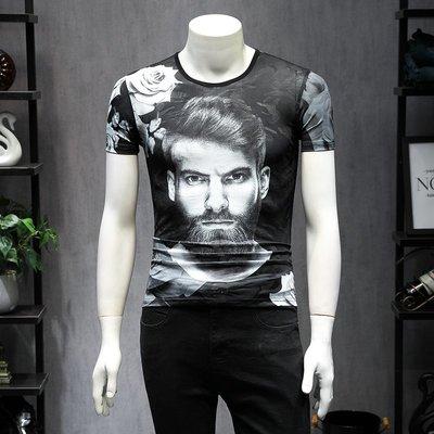 中國風 霸氣 冰絲 龍紋 型男男士短袖T恤立體3D人物頭像印花冰絲社會人汗衫夏裝休閑半袖