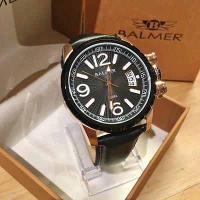 【小川堂】7956 BALMER 瑞士 賓馬 放射光感真皮腕錶 特殊設計 經典款 男錶