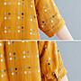 阿美氏 短袖棉麻t恤 襯衫上衣棉麻衫 寬鬆女裝 夏季 復古流行文青民俗民族風中大尺碼   YYC 3371