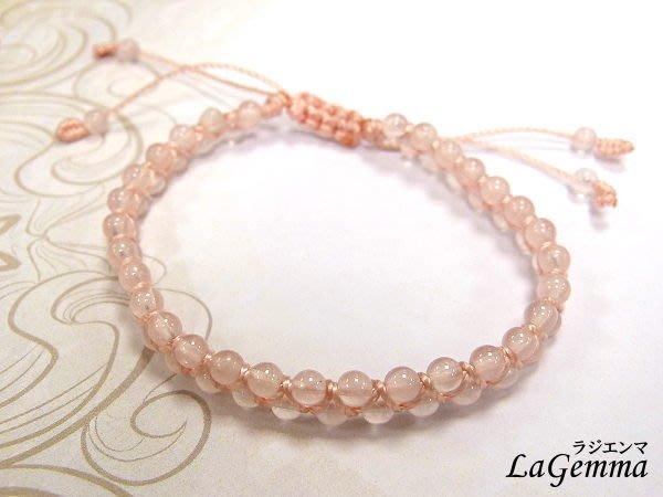 【寶峻水晶】粉晶/水晶圓珠雙層編織手鍊/手珠SPS-439,Rose Quartz好桃花運好人緣,伸縮手圍