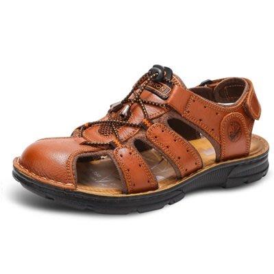 涼 鞋 真皮拖鞋-包頭休閒清涼透氣男鞋子3色73sa21[獨家進口][米蘭精品]