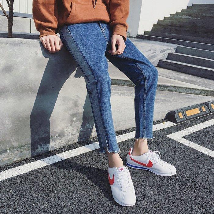 新款牛仔褲2018春新款九分牛仔褲青少年男9褲 青少年牛仔褲