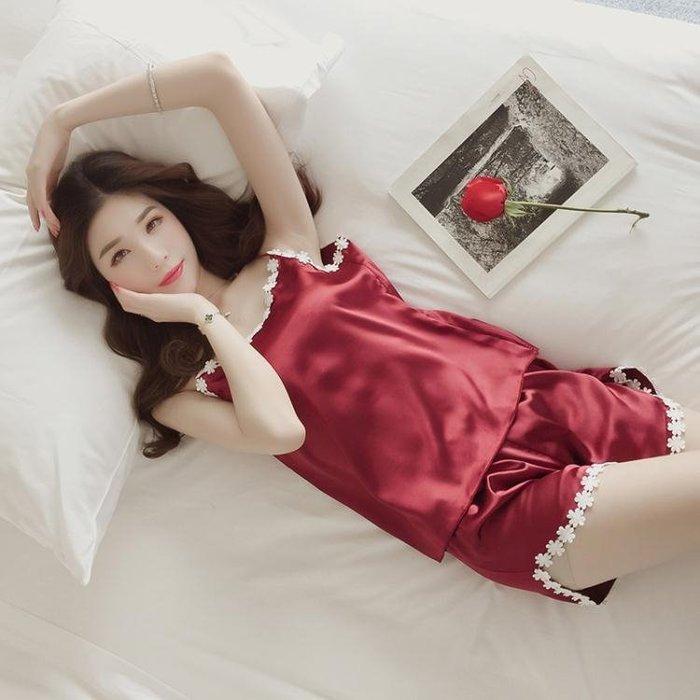2018正韓新款春夏季寬鬆甜美性感吊帶睡衣兩件套裝女高腰闊腿短褲