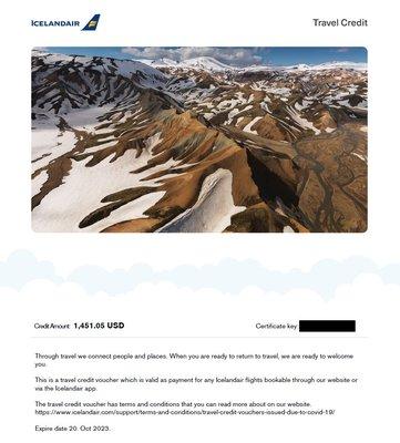 轉讓 冰島航空 IcelandAir 折價卷 抵用卷 旅遊積分 代金卷 優 Travel Credit Voucher