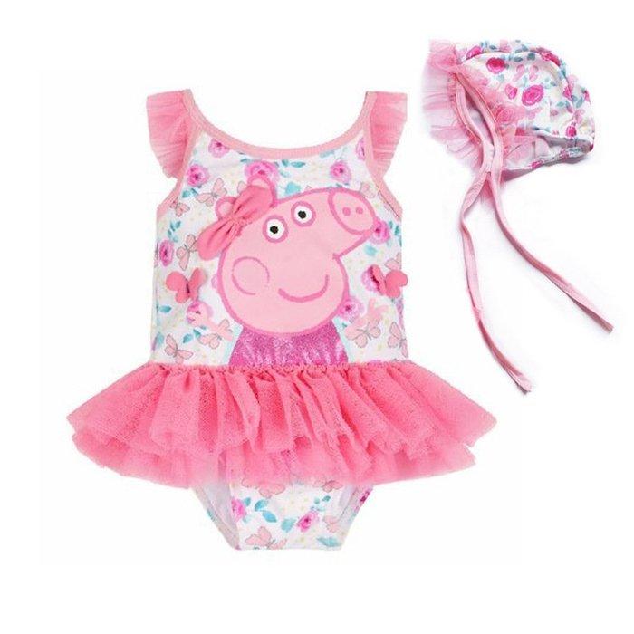 1-2-3-4-5歲女童泳衣 寶寶泳裝 佩佩豬可愛泳裝#1566