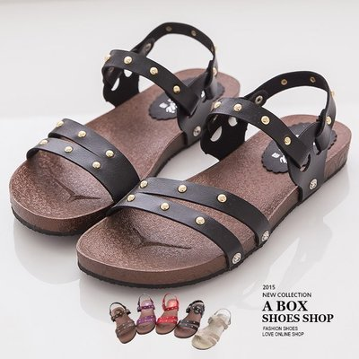 格子舖*【AN885】 MIT台灣製 率性休閒金屬鉚釘 羅馬風平底拖鞋