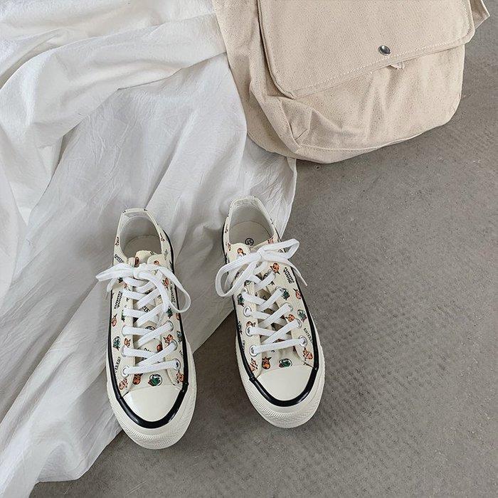 小尤家~ins帆布鞋女學生韓版潮流新款百搭山本街拍港風復古chic鞋子
