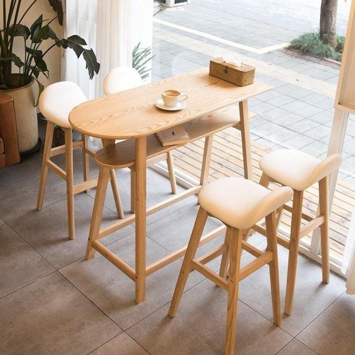 麥麥部落 紅美隆吧臺椅現代簡約式式吧椅居居家用實木高腳凳創意酒吧凳子收MB9D8