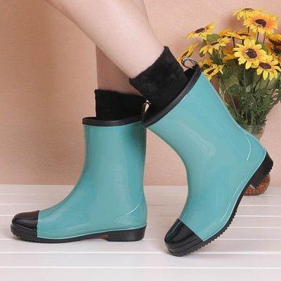 時尚雨鞋女士中高筒雨靴防滑耐磨水鞋膠鞋可襪   全館免運