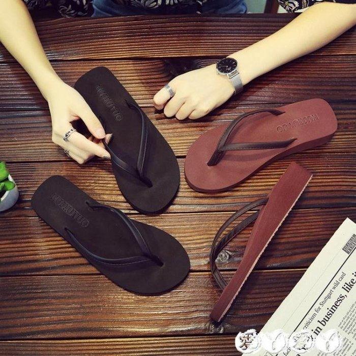 人字拖 人字拖女夏時尚海邊韓版沙灘坡跟厚底外穿平底外出防滑夾腳涼拖鞋 新品
