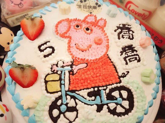 ❤ 歡迎自取 ❥ 雪屋麵包坊 ❥ 佩佩豬款式 ❥ 佩佩豬騎車趣 ❥ 八吋生日蛋糕 ❥❥送彩色蠟燭唷