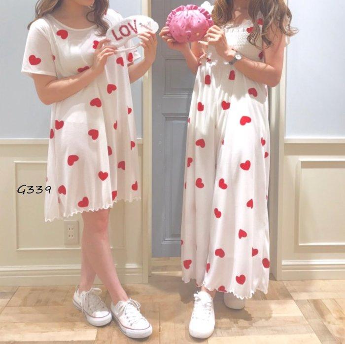 G339滿版莫代爾愛心短袖洋裝 睡衣 居家服 休閒服  連身裙 寬鬆洋裝$850Gelato pique