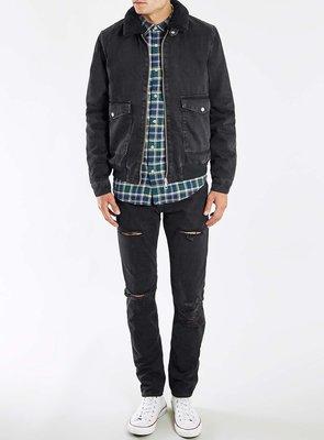 Topman~Washed Black Denim Flight Jacket  Size:XXS