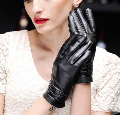 山羊皮手套 冬季加絨加厚短款觸屏功能真皮手套 薄款韓版